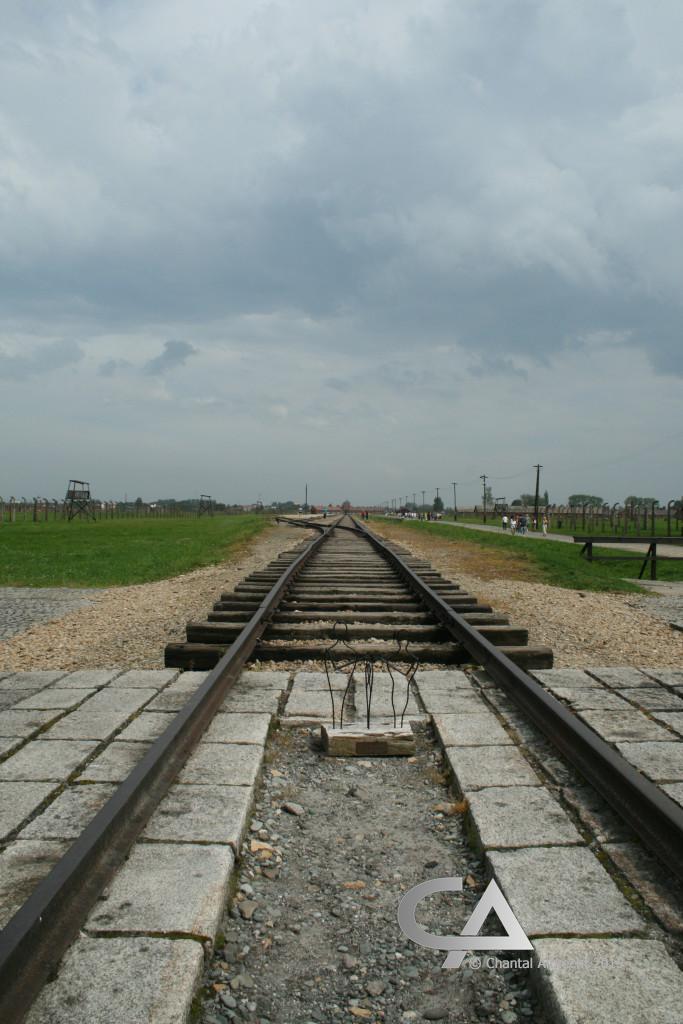 Einde van de spoorlijn in Auschwitz-Birkenau